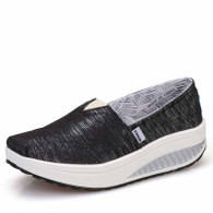 Black stripe slip on rocker bottom shoe sneaker 01