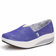 Blue stripe slip on rocker bottom shoe sneaker 01