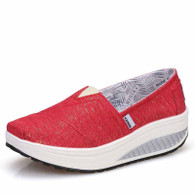 Red stripe slip on rocker bottom shoe sneaker 01