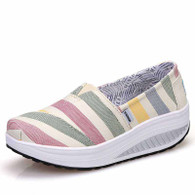 Beige rainbow slip on rocker bottom shoe sneaker