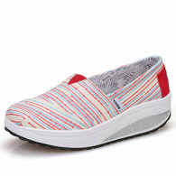 Red color stripe slip on rocker bottom shoe sneaker 01