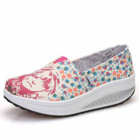 Beige floral girl slip on rocker bottom shoe sneaker 01