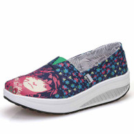 Navy floral girl slip on rocker bottom shoe sneaker 01