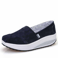 Navy canvas easy slip on rocker bottom shoe sneaker 01