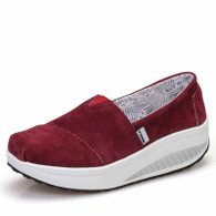 Red canvas easy slip on rocker bottom shoe sneaker 01