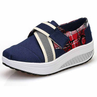 Navy canvas pattern velcro rocker bottom shoe sneaker 01