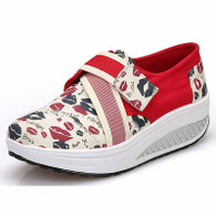 Red sexy lip pattern velcro rocker bottom shoe sneaker 01