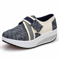 Navy random stripe velcro rocker bottom shoe sneaker 01