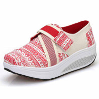 Red art pattern velcro rocker bottom shoe sneaker 01