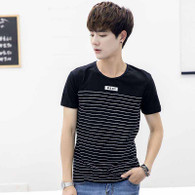 Black stripe pattern casual short sleeve t-shirt 01