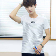 White stripe pattern casual short sleeve t-shirt 01