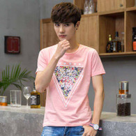 Pink triangle art text print short sleeve t-shirt 01