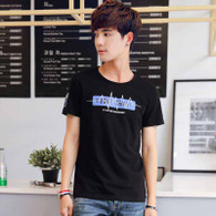 Black SOME THING text print short sleeve t-shirt 01