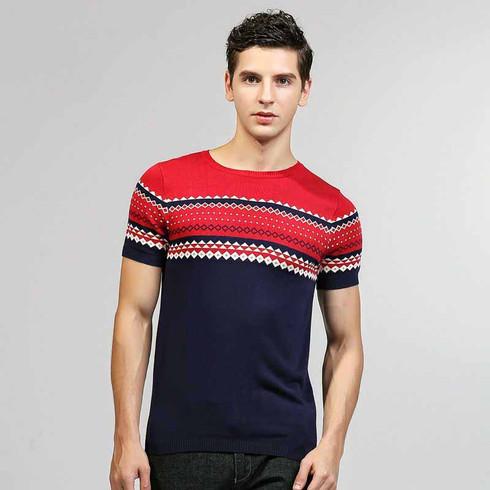 Red stripe Jacquard pattern short sleeve sweater 01