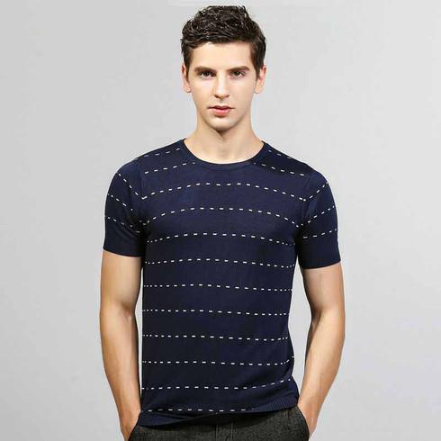 Navy stripe dot pattern short sleeve sweater 01