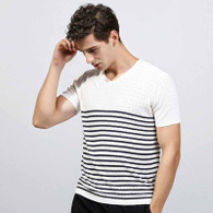 White black stripe V neck short sleeve sweater 01