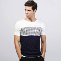 White Jacquard check color layer short sleeve sweater 01