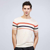 Beige Jacquard star color stripe short sleeve sweater 01