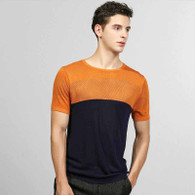 Navy contrast orange hollow out short sleeve sweater 01