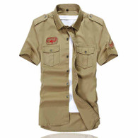Khaki label chest pocket button short sleeve shirt 01