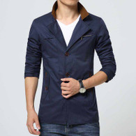 Navy chest pocket button long sleeve windbreaker jacket 01