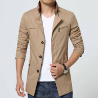Khaki chest pocket button long sleeve windbreaker jacket 01