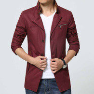 Red chest pocket button long sleeve windbreaker jacket 01