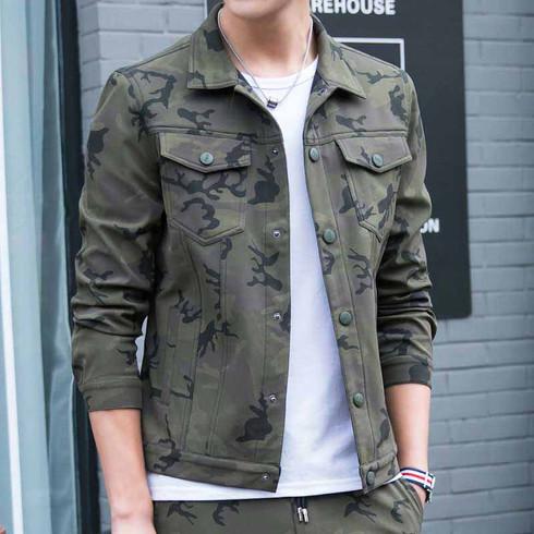 Armygreen camouflage multi pockets long sleeve jacket 01