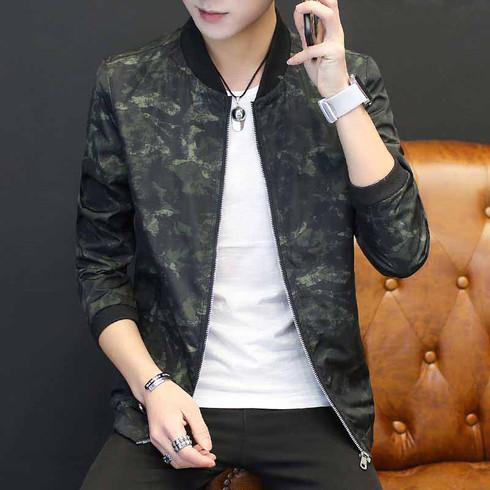 Armygreen pattern long sleeve zip jacket 01