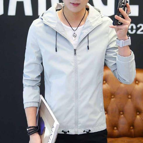 Grey pattern print long sleeve zip jacket hoodies 01