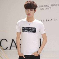 White text pattern casual short sleeve t-shirt 01