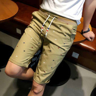 Khaki pattern print casual short stretch waist 01
