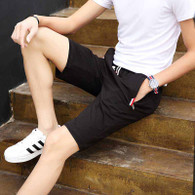 Black short color stripe casual elastic waist 01