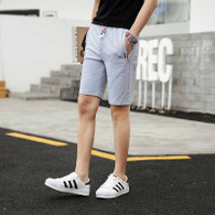 Grey short color stripe casual elastic waist 01