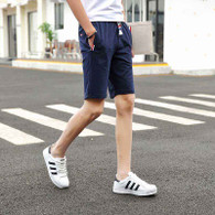Navy short color stripe casual elastic waist 01