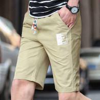 Khaki short casual label print elastic waist 01