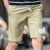 Khaki short casual label print elastic waist 1007 01