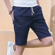 Navy short casual label print elastic waist 1007 01