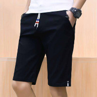 Black short casual label print stretch waist 01