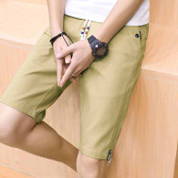 Khaki short casual label print stretch waist 01