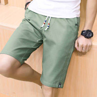 Green short casual label print stretch waist 01