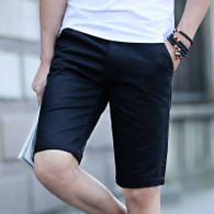 Black short casual plain color zip fly 01