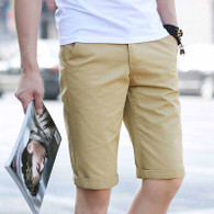 Khaki short casual plain color zip fly 01