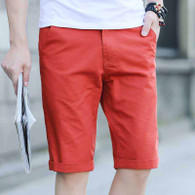 Orange red short casual plain color zip fly 01