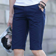 Navy short casual plain color zip fly 01
