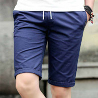 Navy short casual label print stretch waist 1010 01