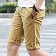 Khaki short casual label print stretch waist 1010 01