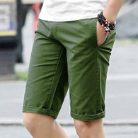 Army green short casual label print stretch waist 01