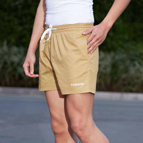 Khaki short casual elastic waist with pockets 01