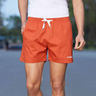 Orange short casual elastic waist with pockets 01